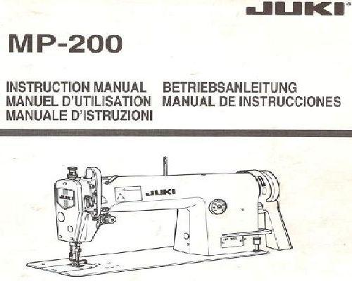 Juki Industrial Sewing Machine Instruction Manuals