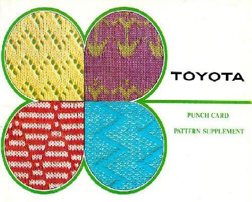 Toyota Punch Card Pattern Supplement Knitting Machine Instructions