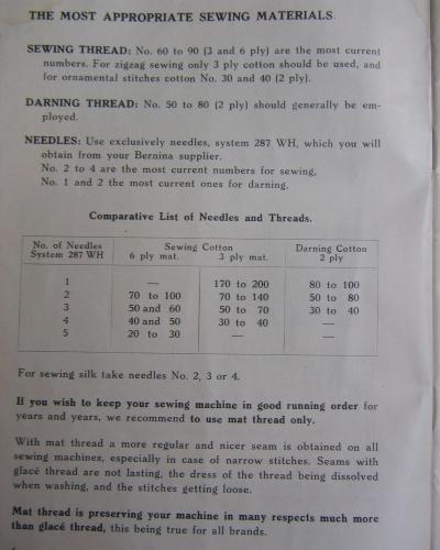 Bernina 117 Sewing Machine Instruction Manual